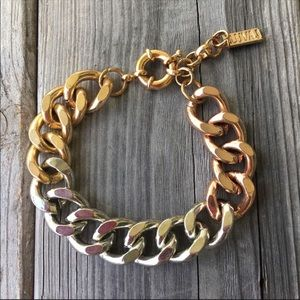 "Luv AJ tri-color chain link bracelet 7 1/2"" length"